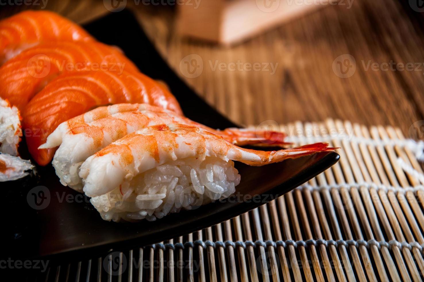thème japonais coloré avec sushi photo