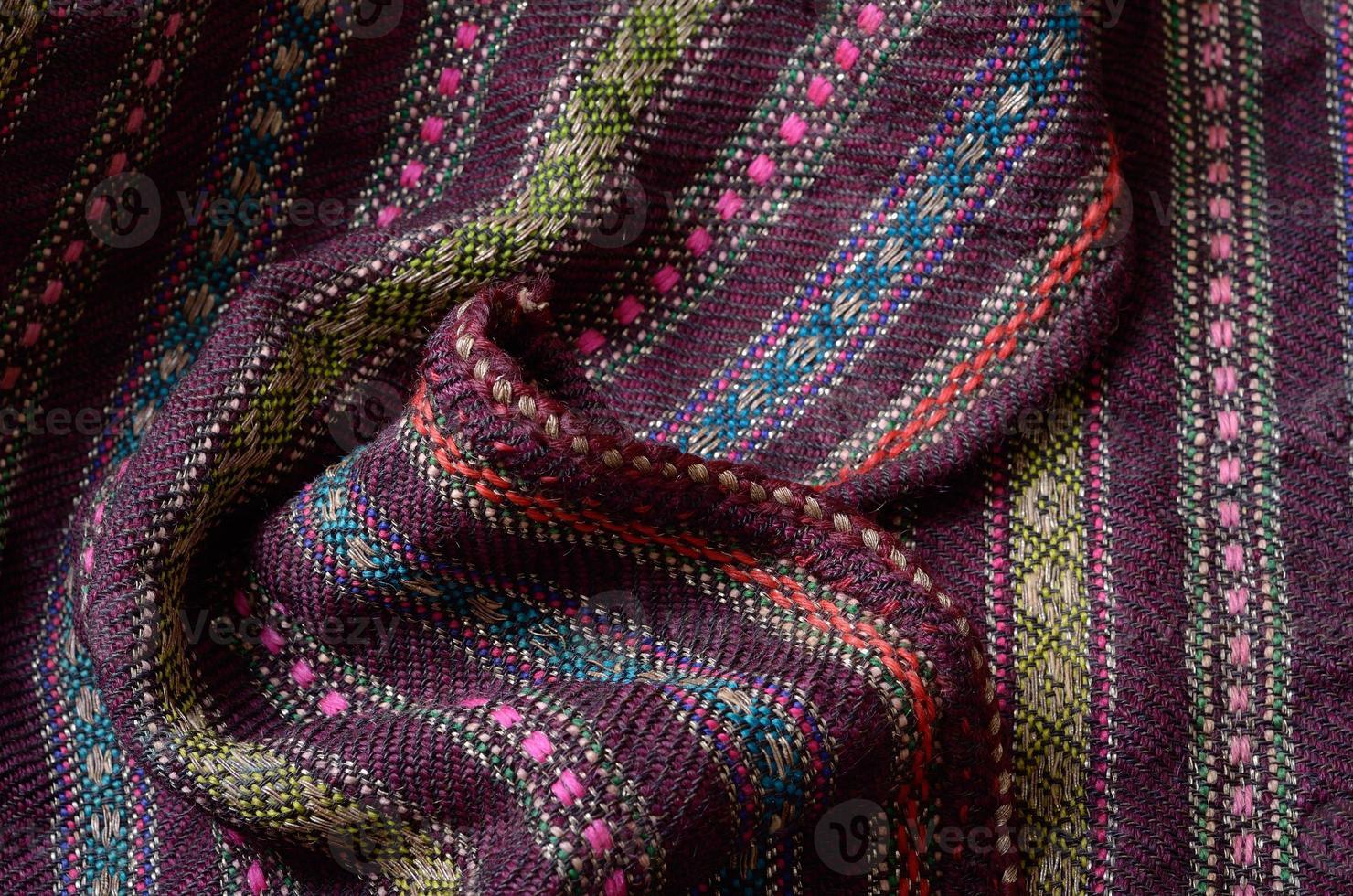 gros plan de la laine tissée à la maison ridée photo