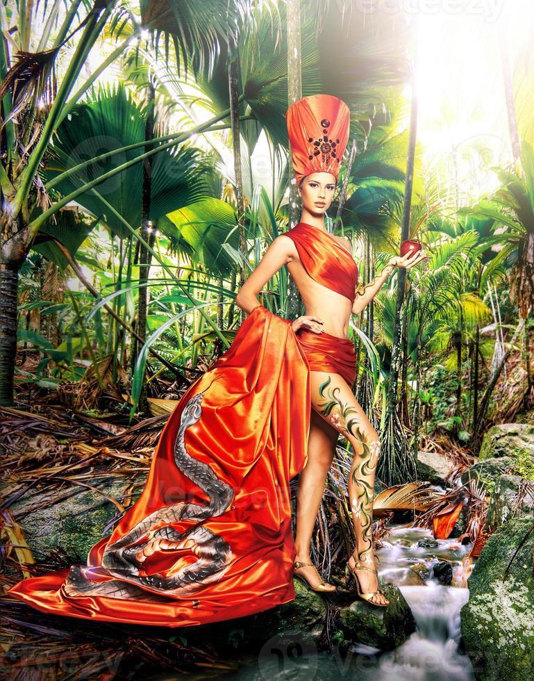 femme, porter, carnaval, déguisement photo