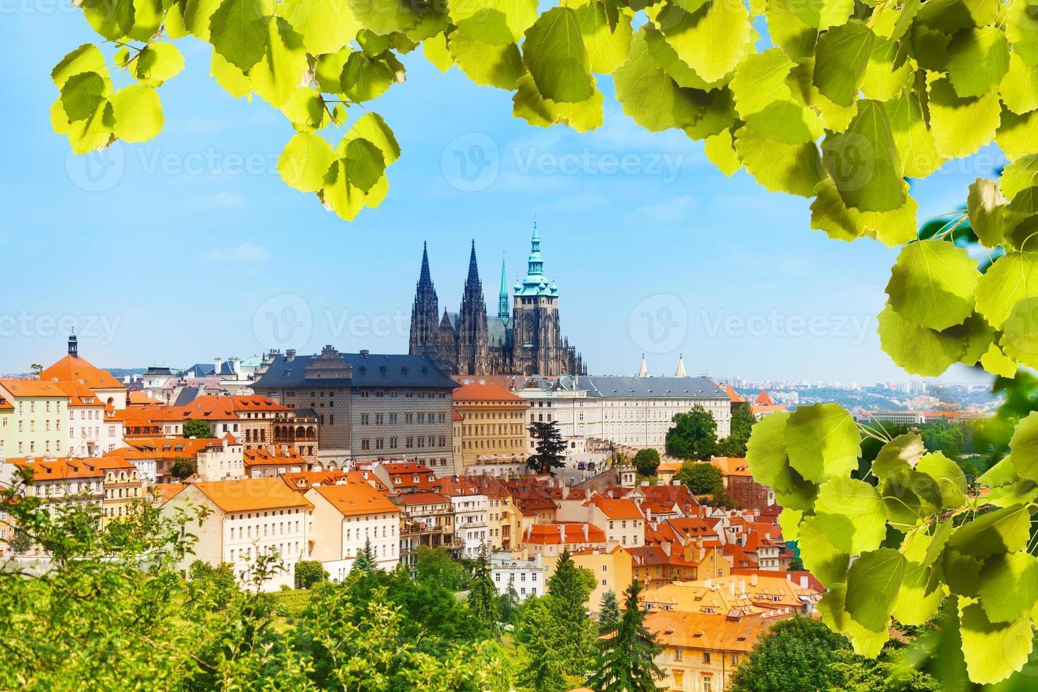 panorama de prague hrad et vitas cathédrale photo
