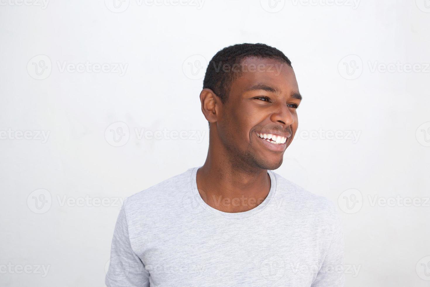 jeune, homme américain africain, rire photo