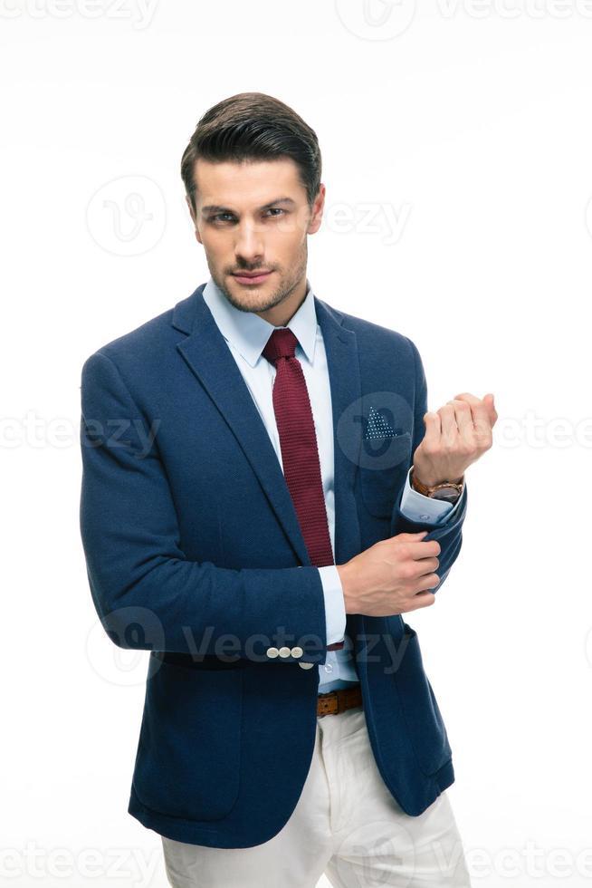 veste de boutonnage heureux bel homme d'affaires photo
