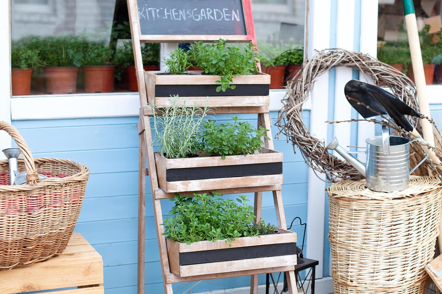 De plus en plus de plantes en pots sur un porche de maison de campagne photo