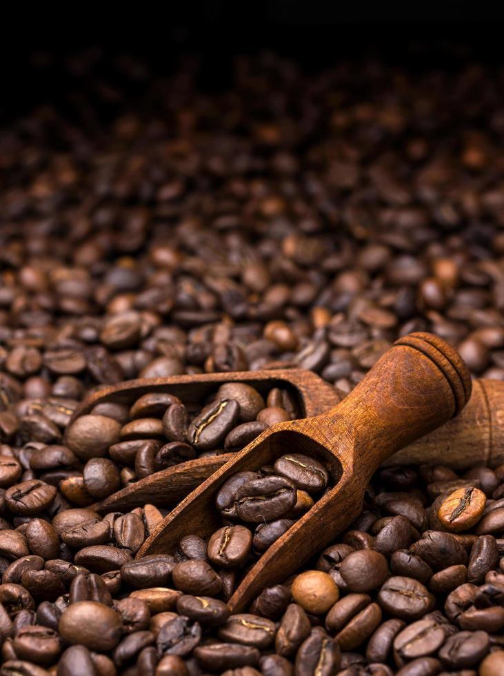 grains de café sur fond sombre photo