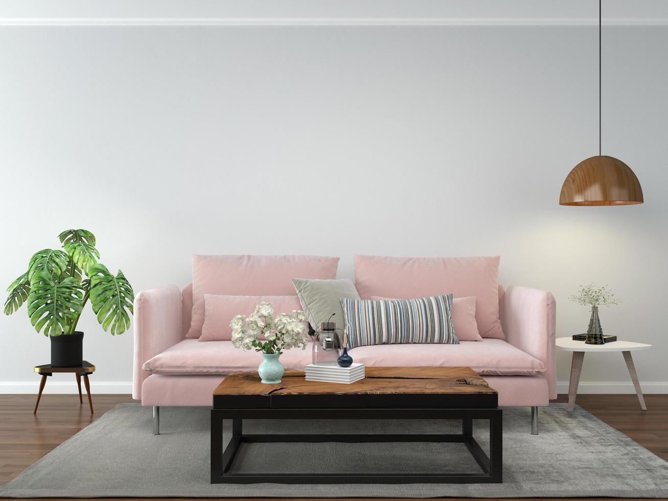 salon avec canapé rose photo