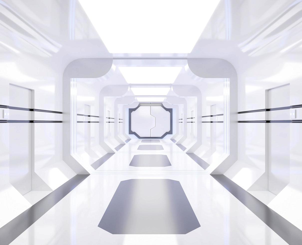rendu de vaisseau spatial avec couloir blanc brillant photo