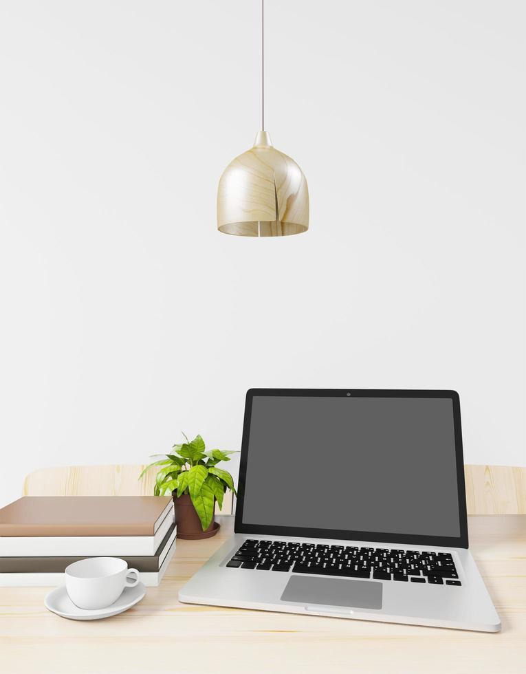petit espace de travail moderne avec ordinateur portable photo