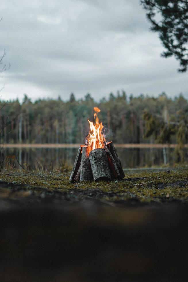 petit feu de joie au bord d'un lac photo