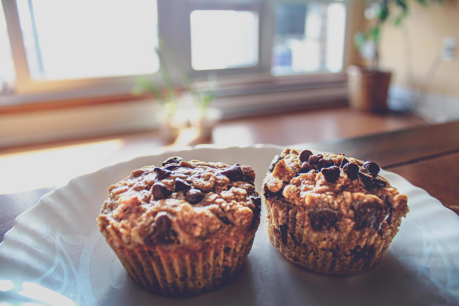 gros plan, de, pépites de chocolat, muffins, sur, plaque photo