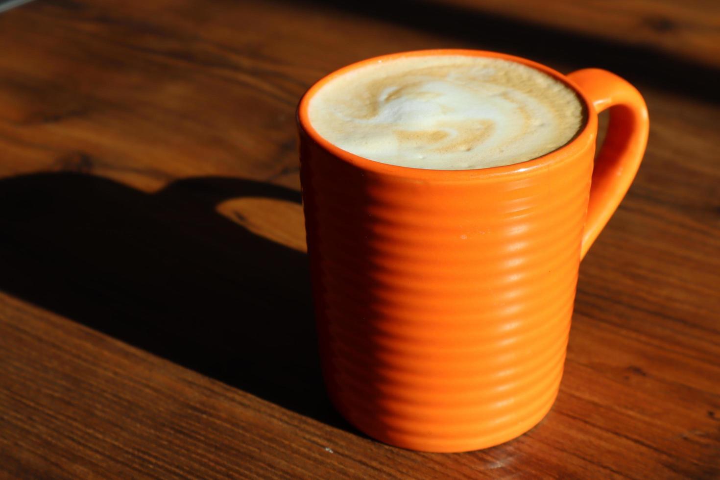 gros plan, de, une, tasse café orange photo