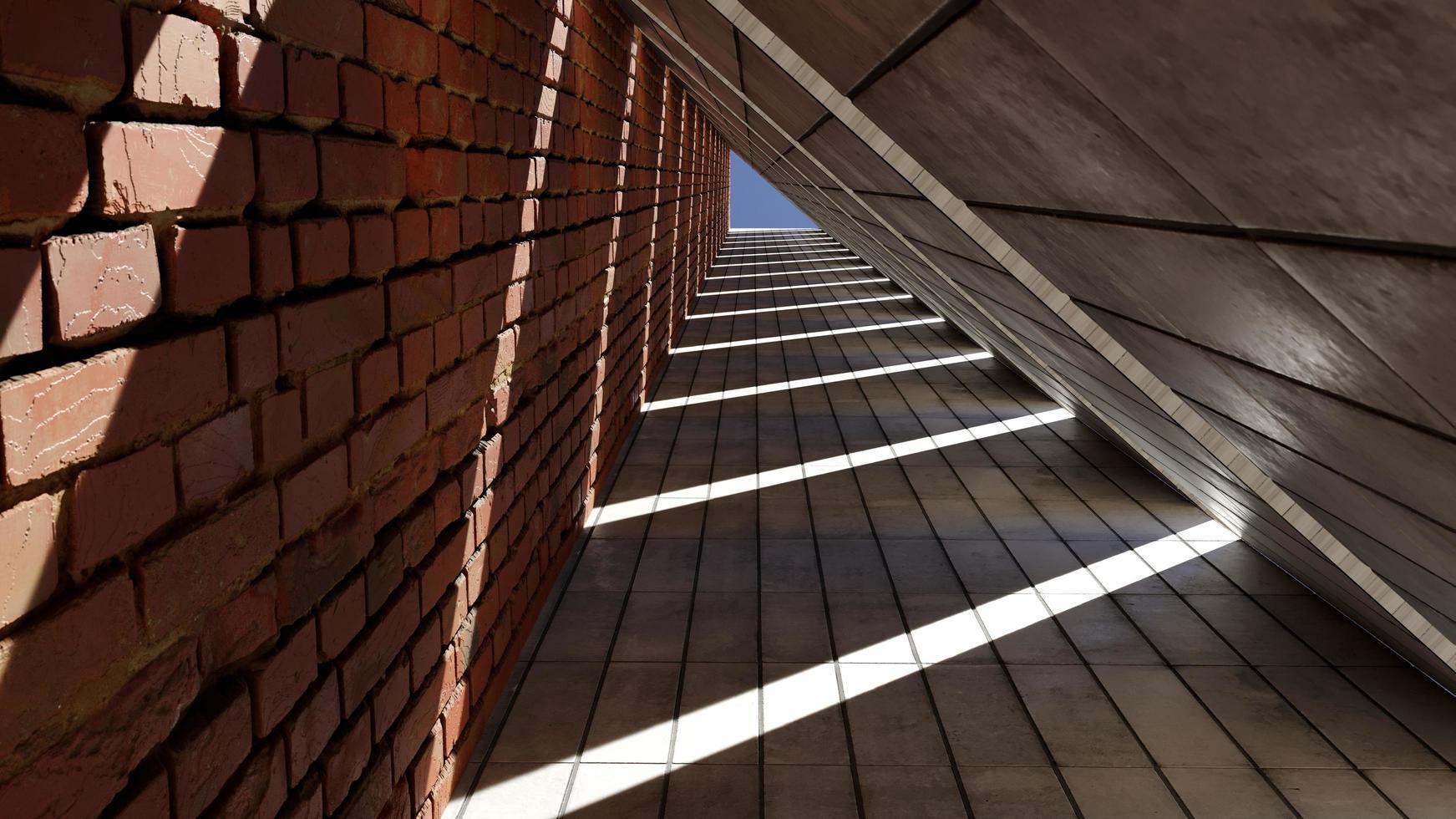 couloir architectural intérieur avec lumière du soleil photo