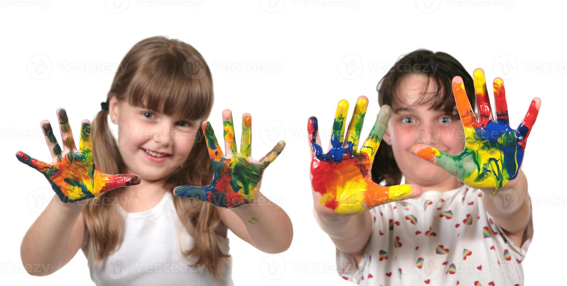 heureux, écoliers, peinture, à, mains photo
