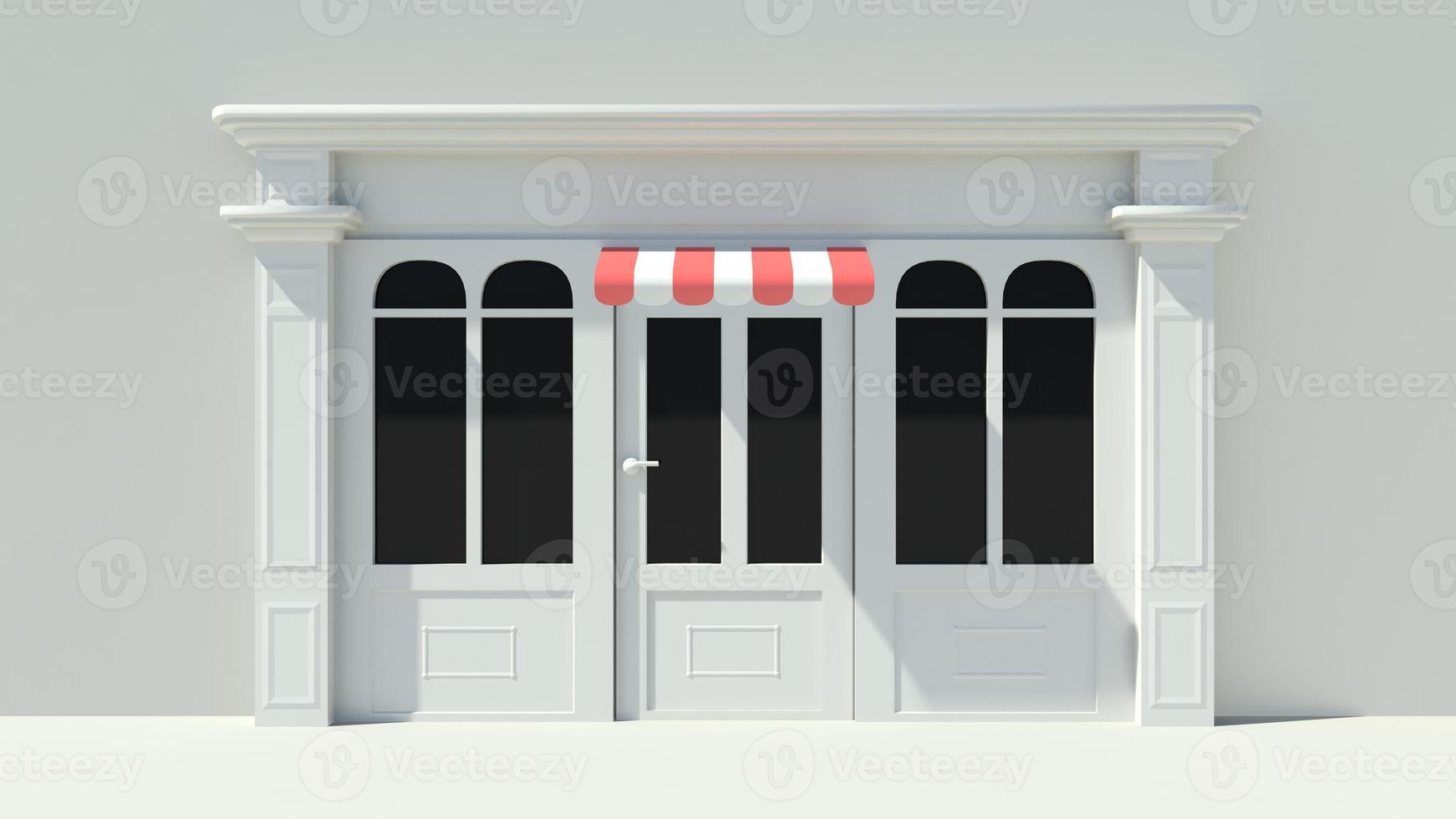 vitrine ensoleillée avec de grandes fenêtres façade de magasin blanc photo