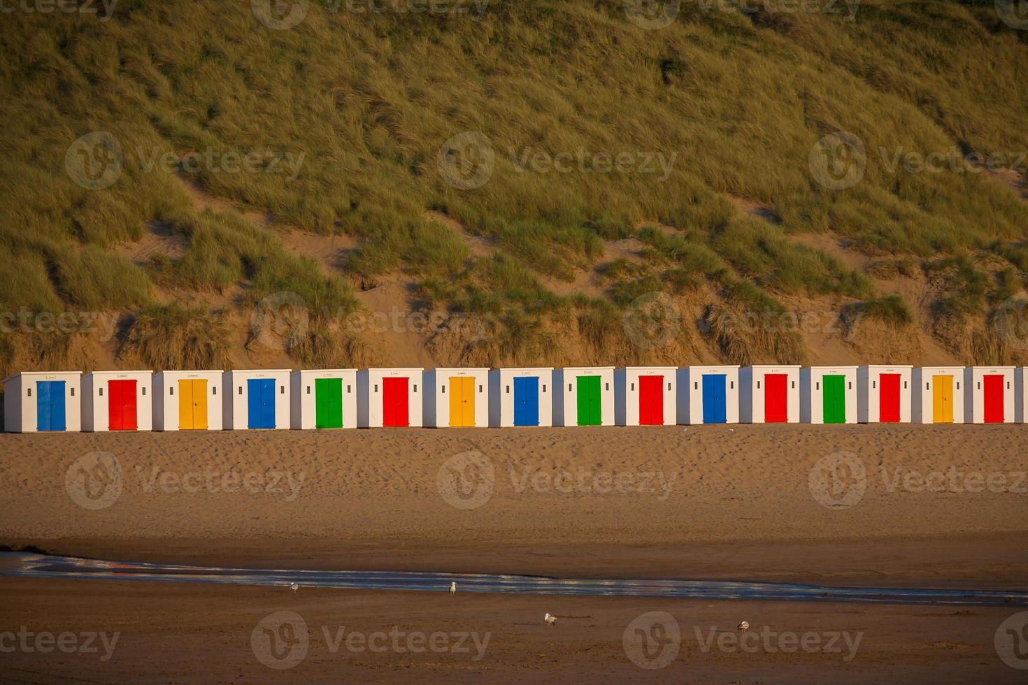 Superbes cabines de plage de la baie de Woolacombe photo
