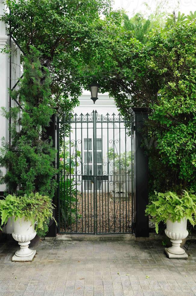 Façade de porte de plantes avec pots de fleurs blancs photo