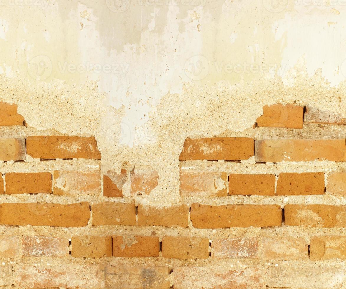 Vieux mur de briques béton fissuré fond vintage photo
