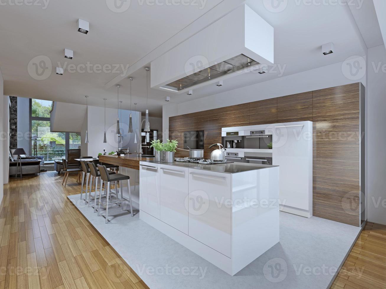cuisine-salle à manger de style moderne photo