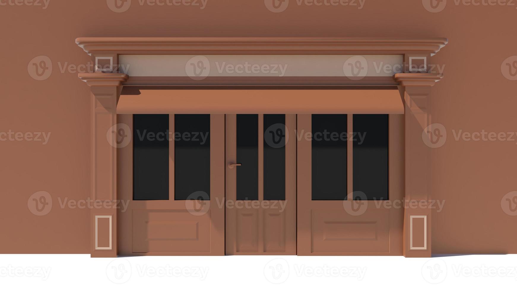 vitrine ensoleillée avec de grandes fenêtres façade de magasin blanc et marron photo