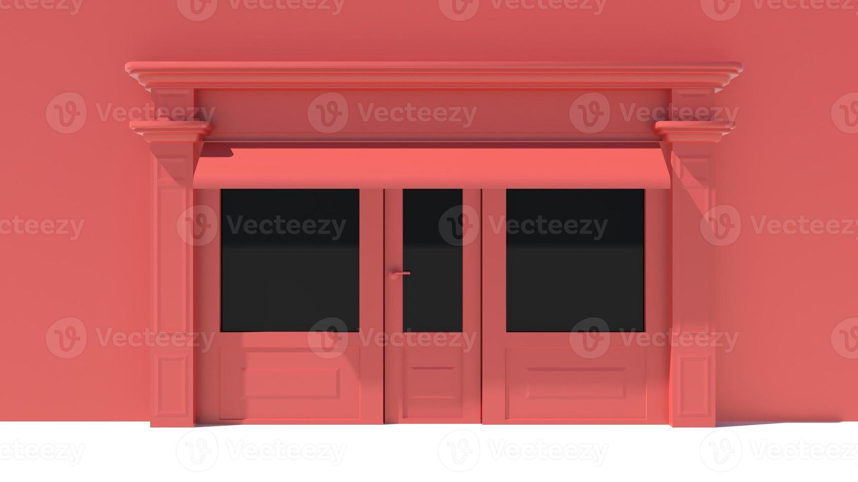 vitrine ensoleillée avec de grandes fenêtres façade de magasin blanc et rouge photo