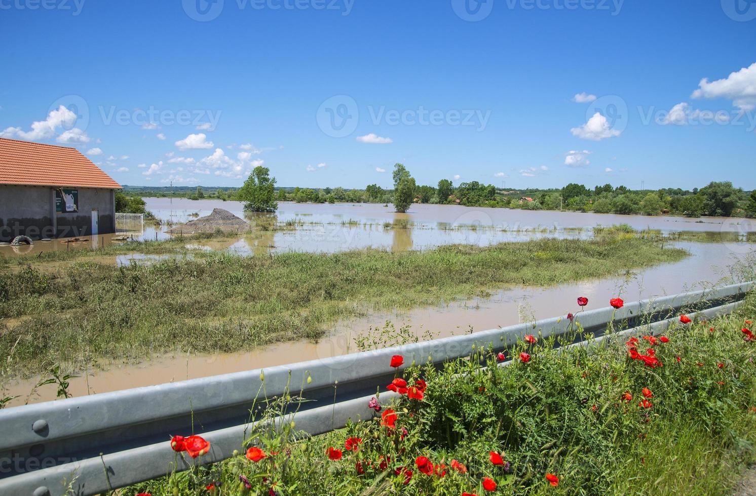 grande inondation qui comprenait des maisons, des champs et des routes photo