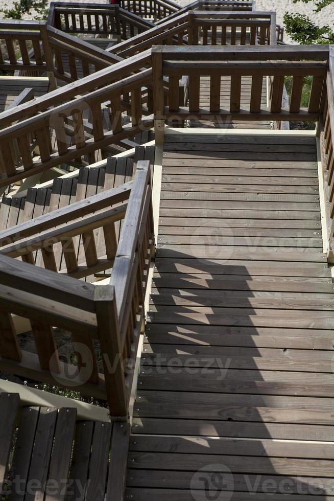 escaliers en bois sur la plage de miedzyzdroje photo