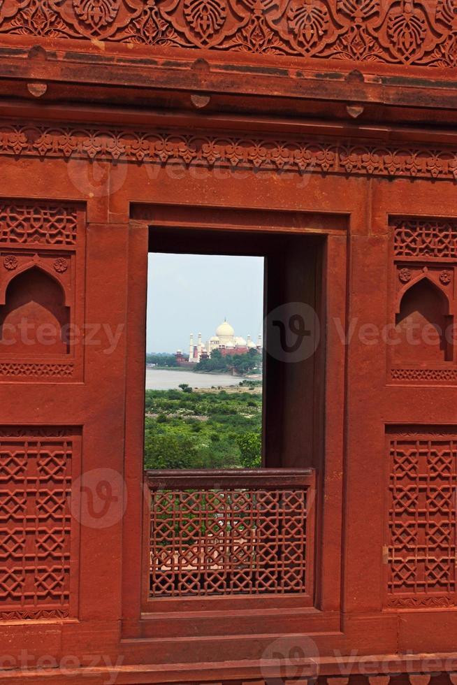 fort d'agra: décoration en grès rouge photo