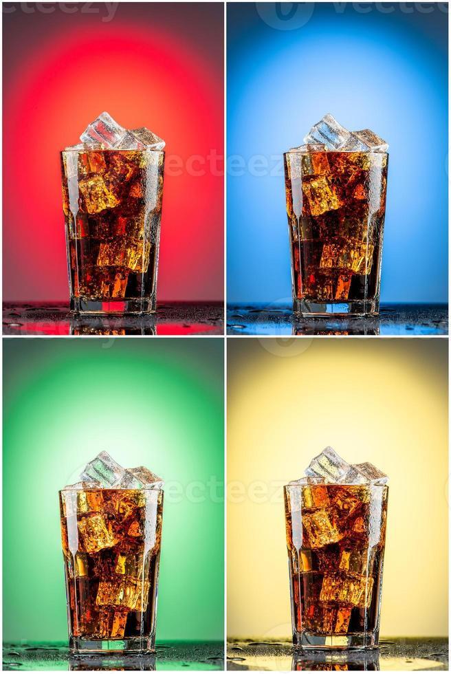 verre avec du cola et de la glace. collection de quatre arrière-plans photo