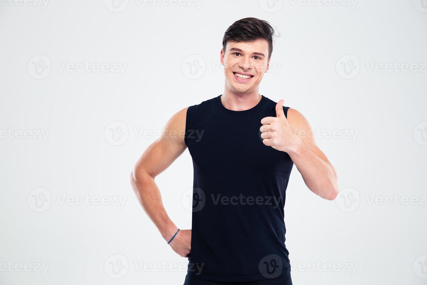 sourire, homme sportif, projection, pouce haut photo