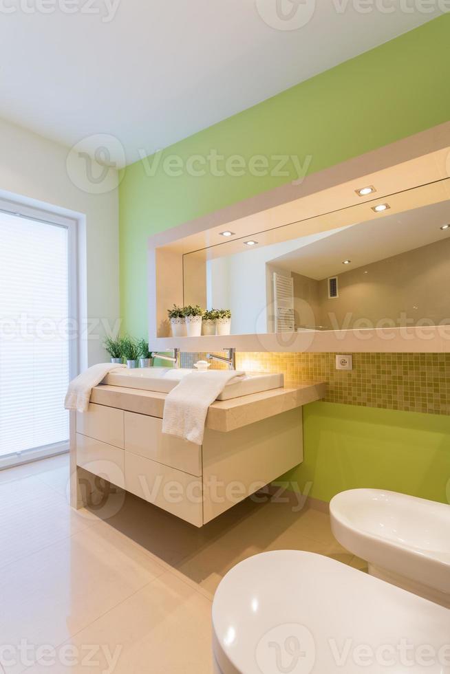 mur peint en vert dans la salle de bain photo