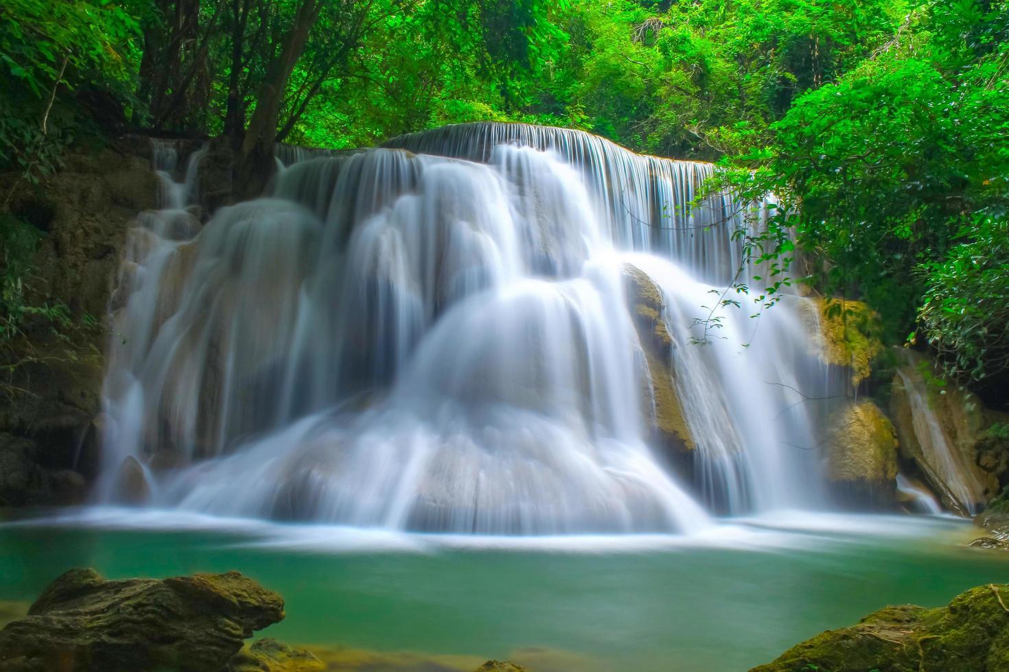 belle cascade dans une forêt tropicale photo