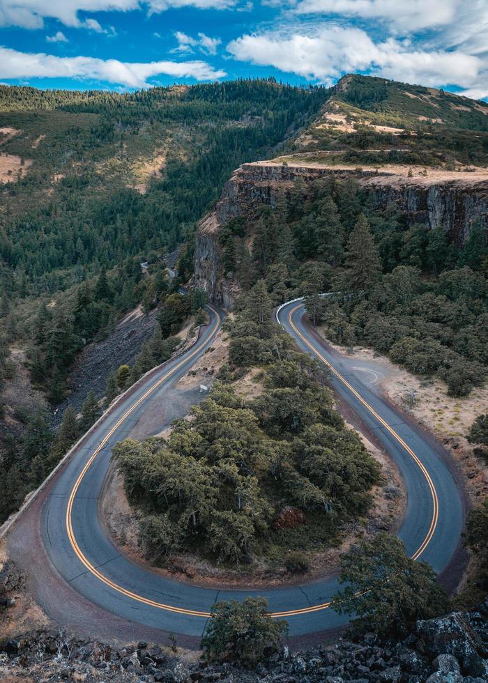 Vue aérienne de la crête de Rowena, Oregon photo