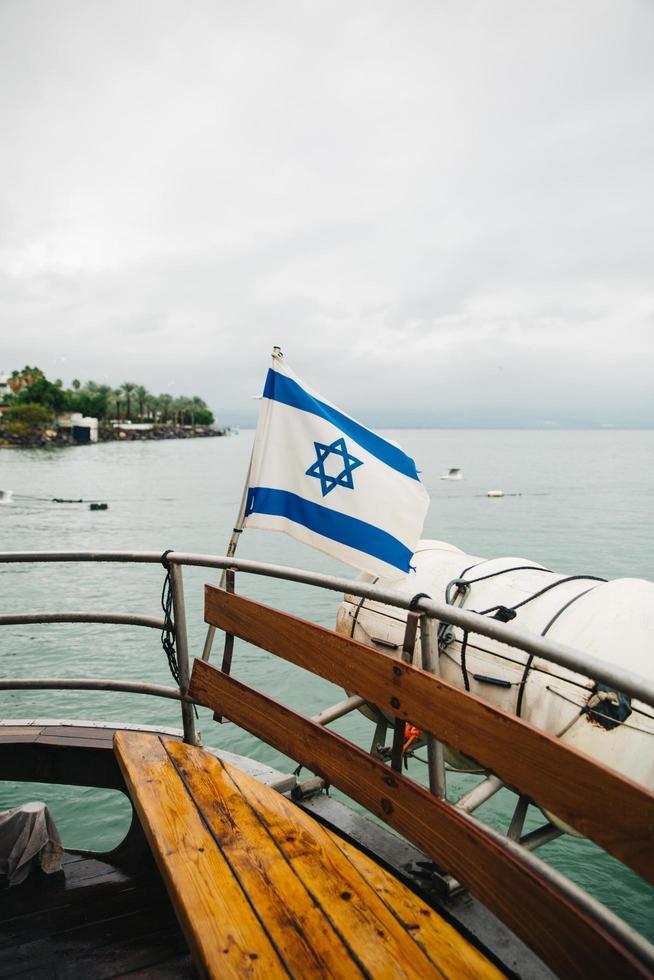 drapeau israélien sur bateau photo