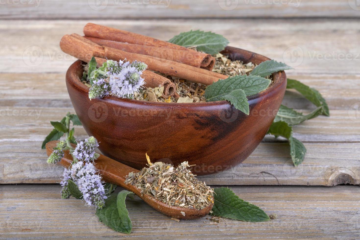 thé dans un bol en bois photo