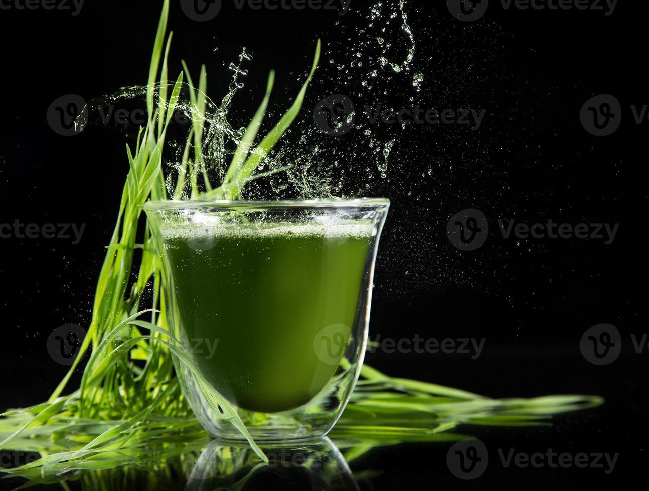 désintoxication. jeune orge, superaliment de chlorella. photo