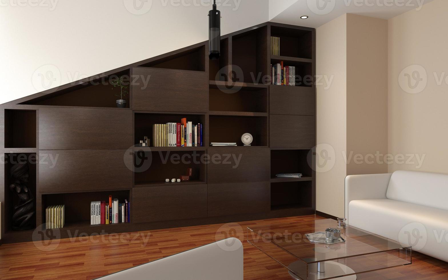 rendu du salon de l'appartement avec bibliothèque photo