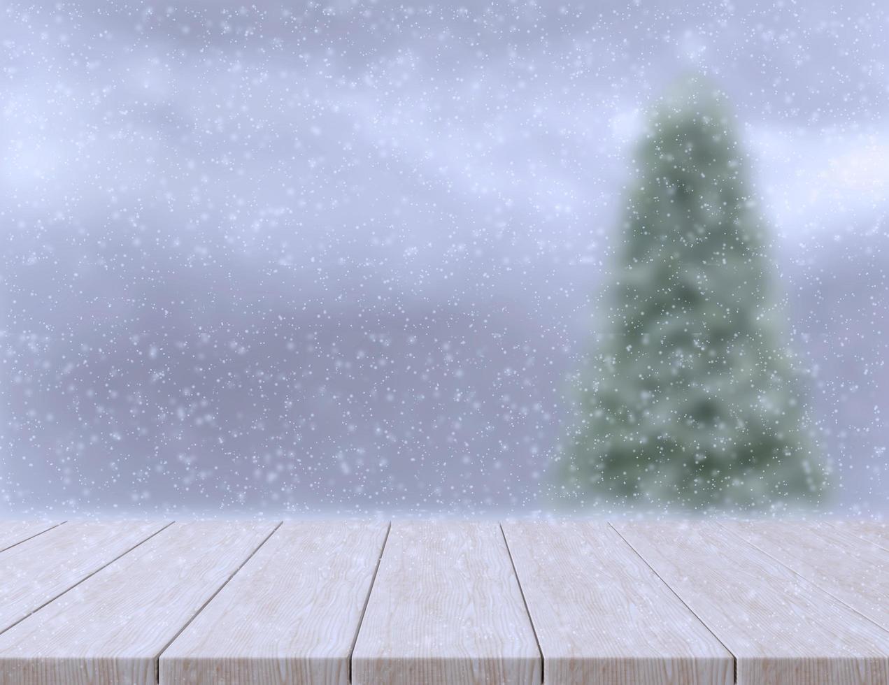 plancher en bois et arrière-plan flou photo
