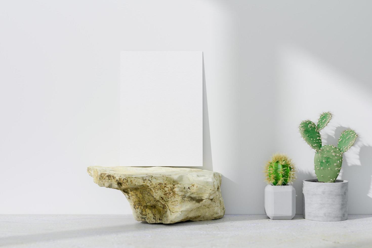 maquette de carte de voeux sur un rocher photo