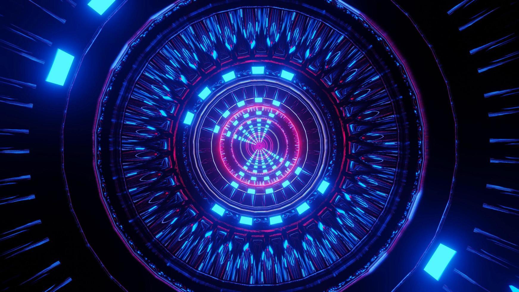 fond d'illustration 3d de passerelle néon de science-fiction photo