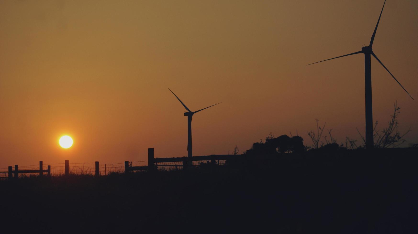 silhouettes d'éoliennes au coucher du soleil photo
