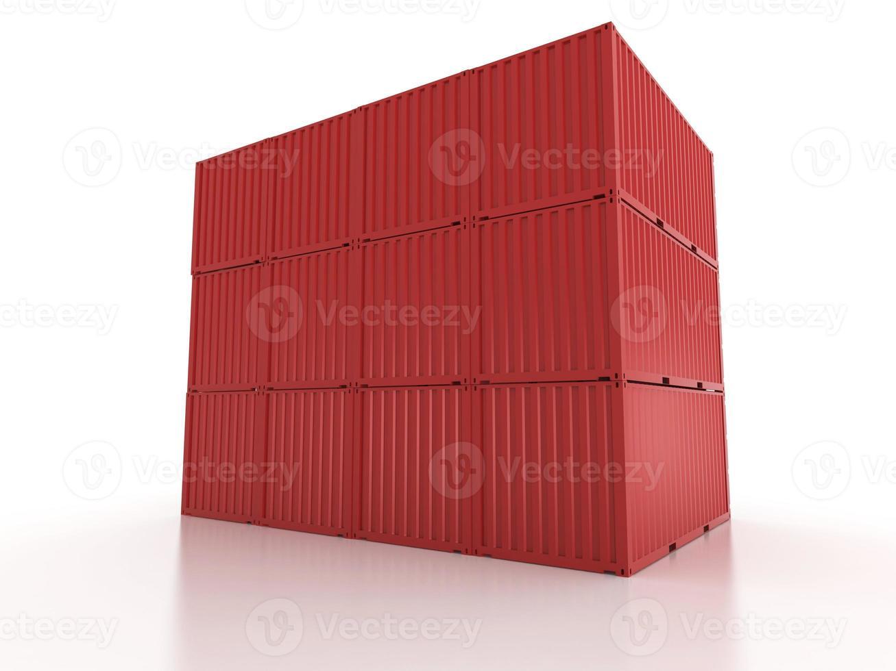 Mur de conteneurs d'expédition de fret en métal rouge sur fond blanc photo