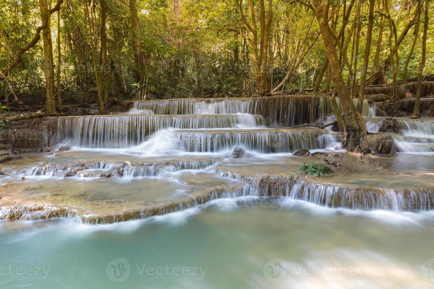 belle vue sur le paysage des chutes d'eau du ruisseau bleu photo