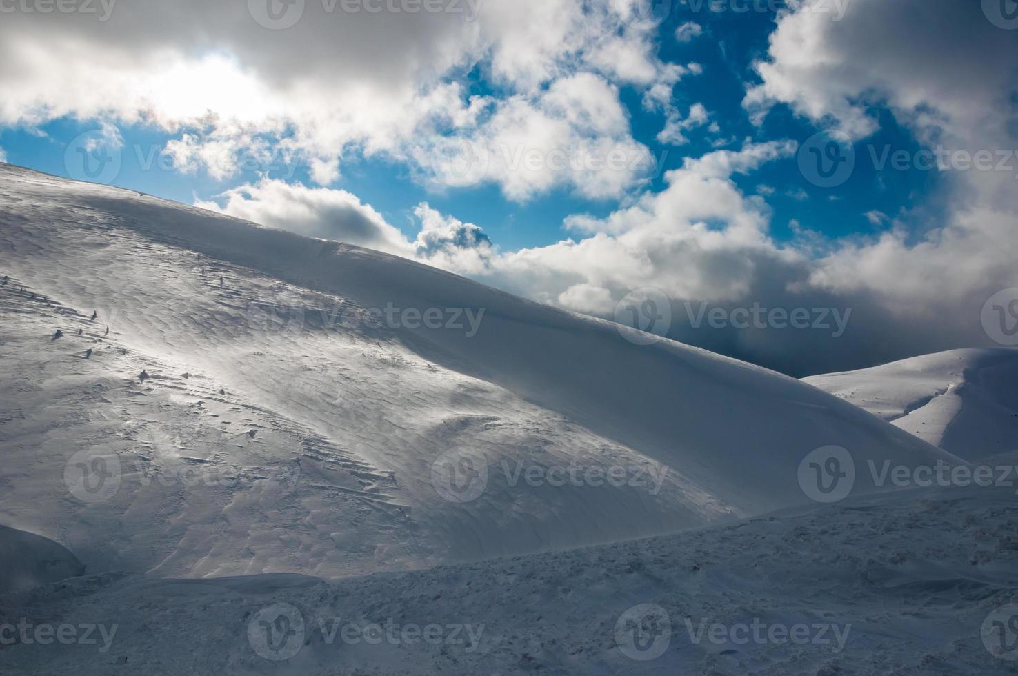 arbres d'hiver dans les montagnes couvertes de neige fraîche photo