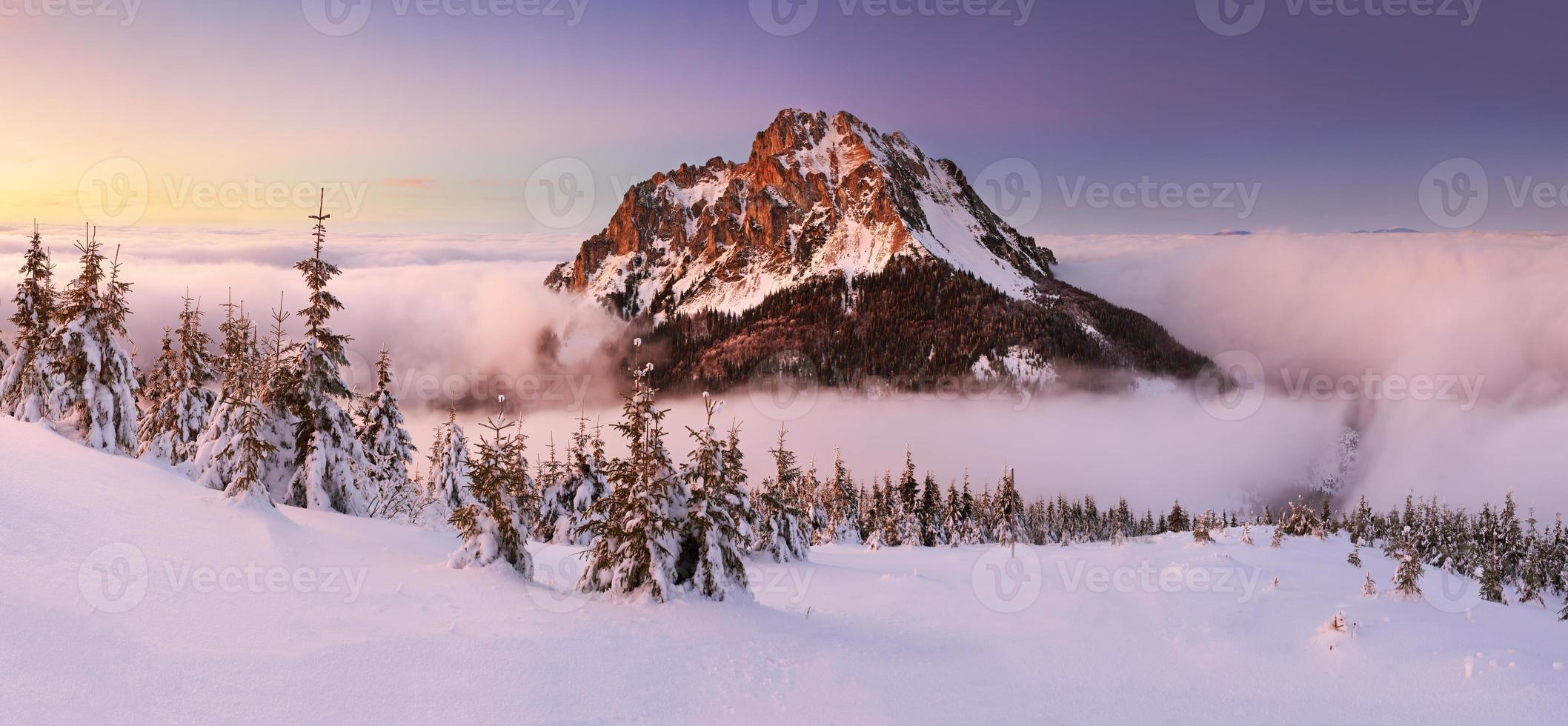 hiver en montagne avec pic rocheux - slovaquie photo