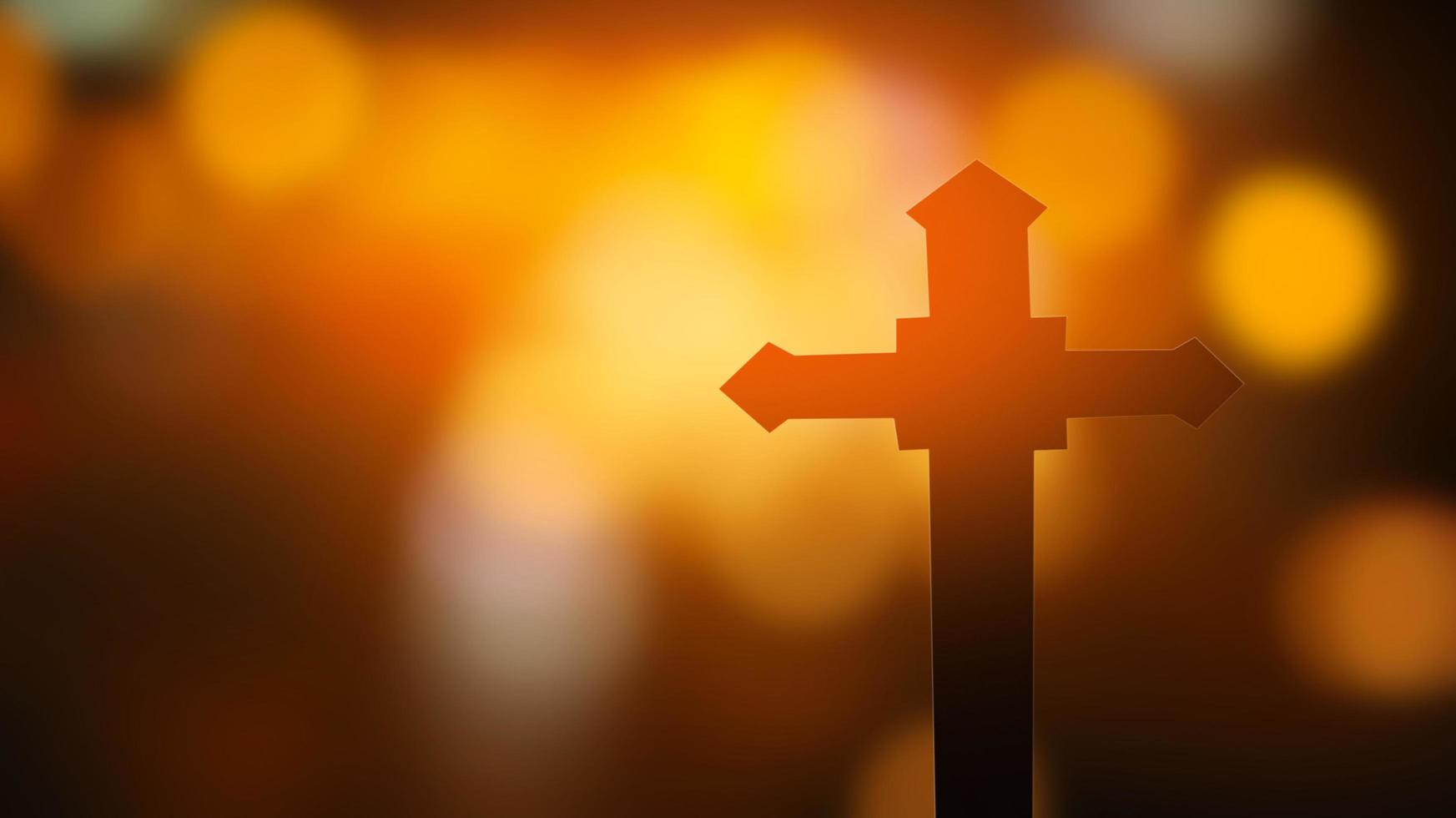 croix sur fond de bokeh photo