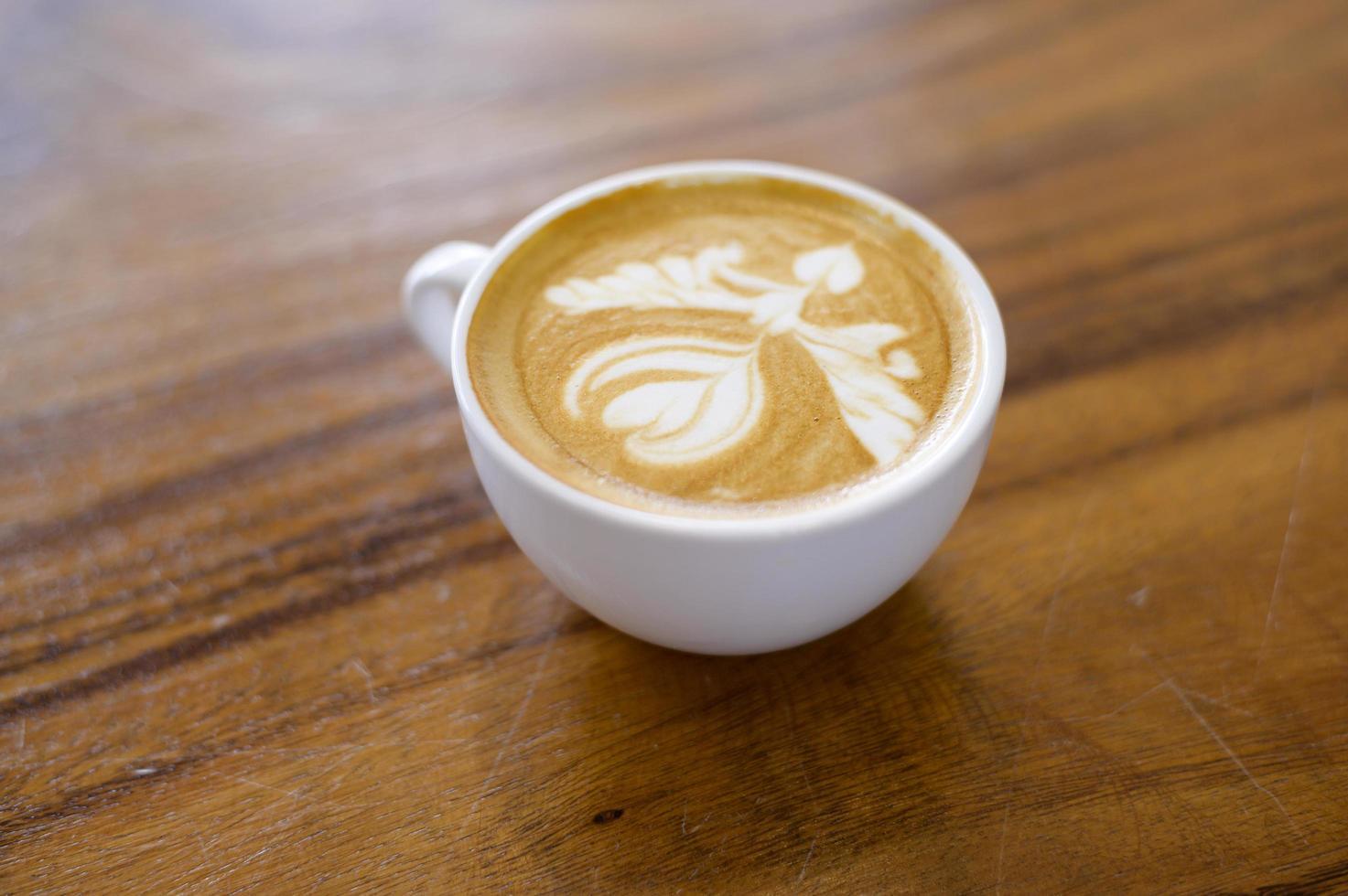 tasse avec art latte photo