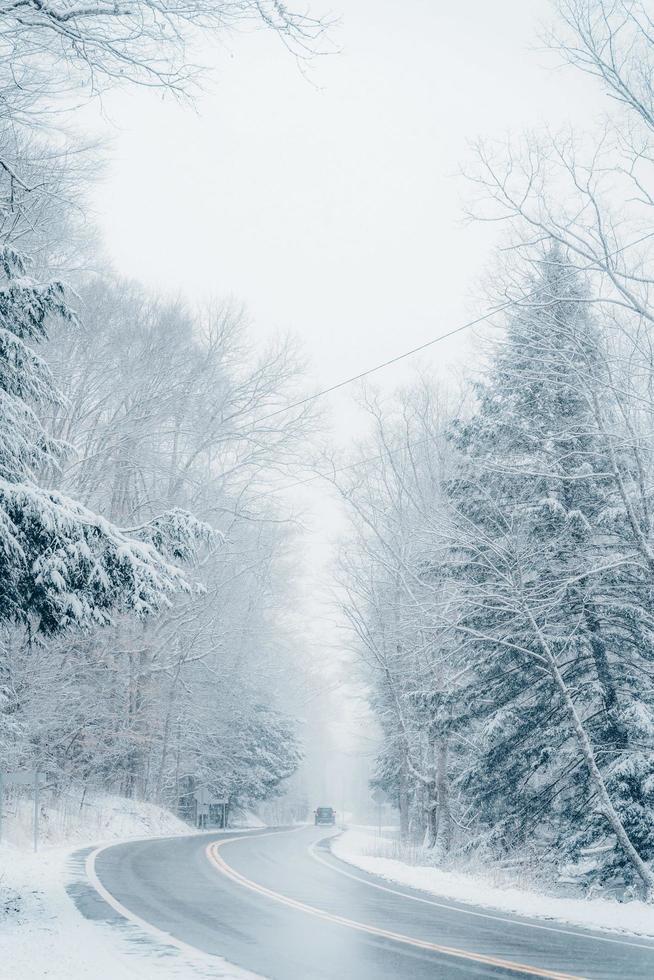 route dans un paysage d'hiver photo