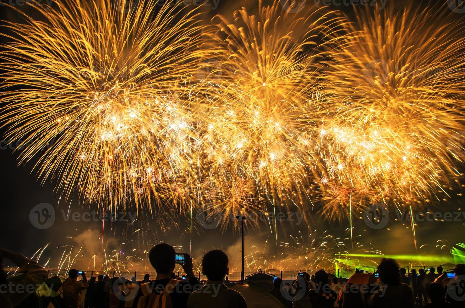 Feu d'artifice lumineux de célébration dans un ciel nocturne photo