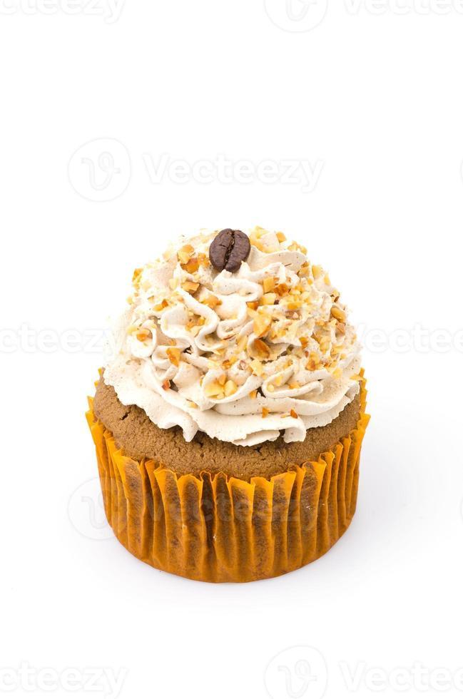 Cupcake café isolé sur fond blanc photo