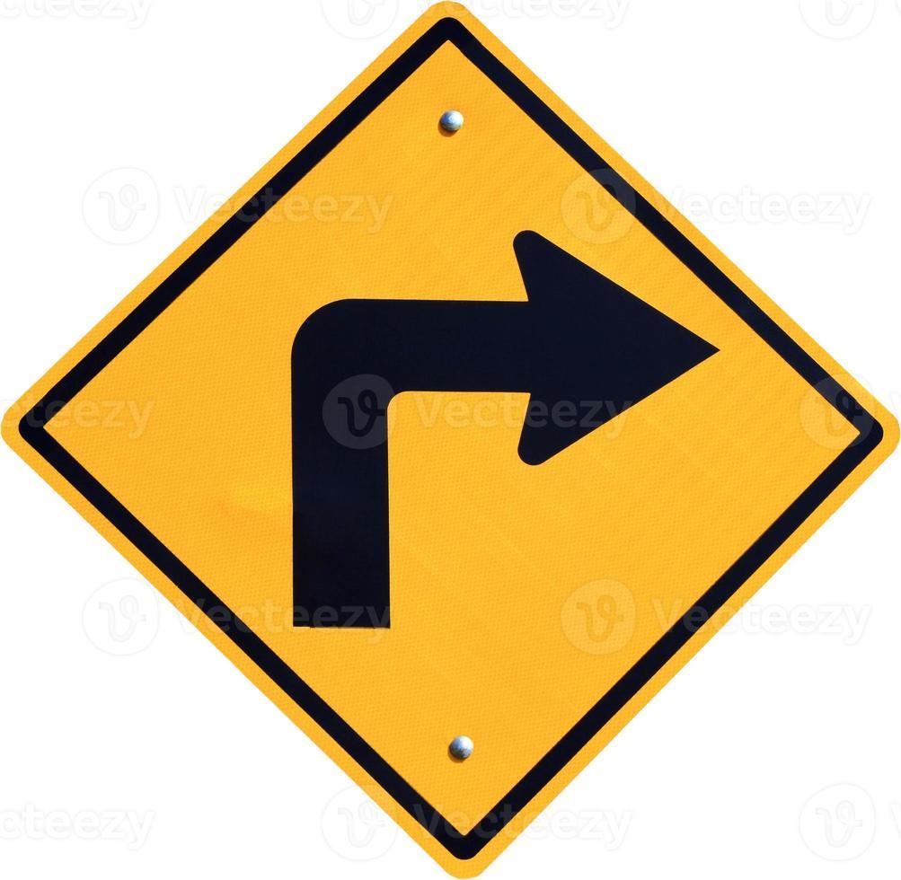 tournez à droite panneau de signalisation jaune photo