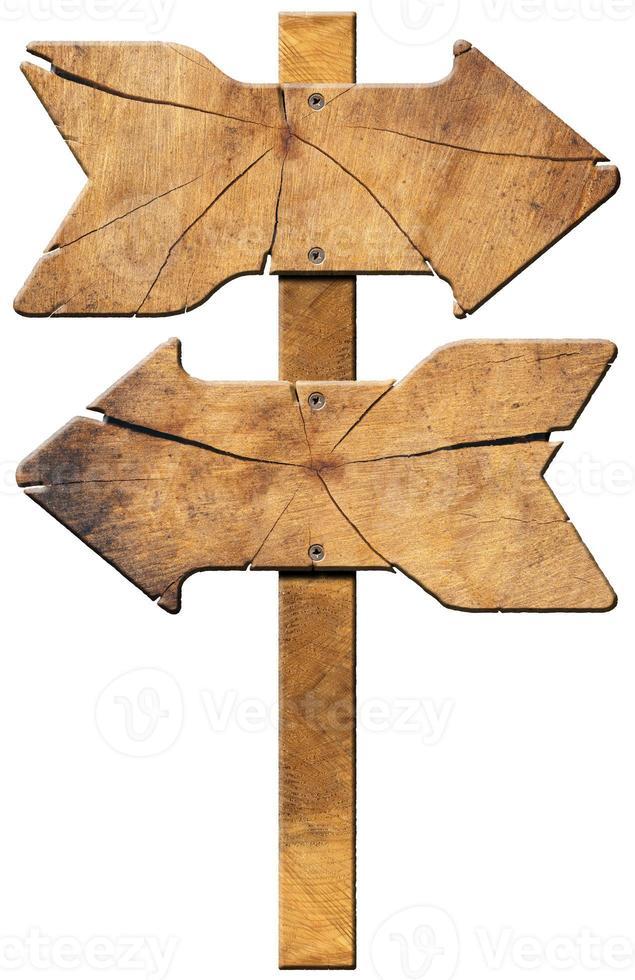 panneau directionnel en bois - deux flèches photo